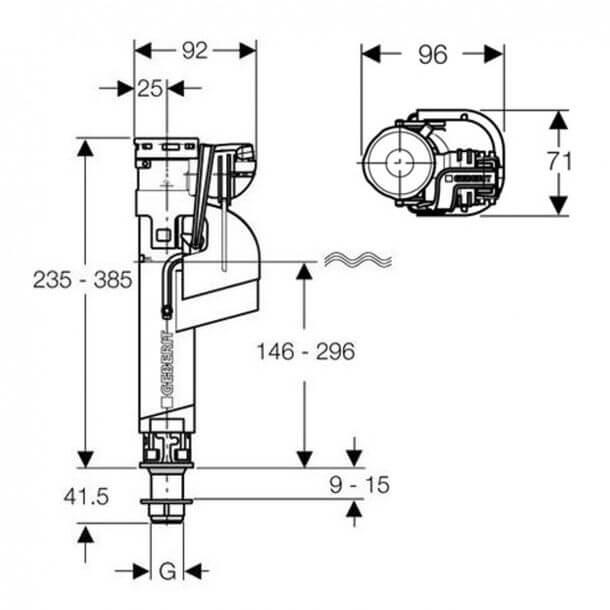 "Geberit 1/2"" Bottom Inlet Valve 281206001 measurements"