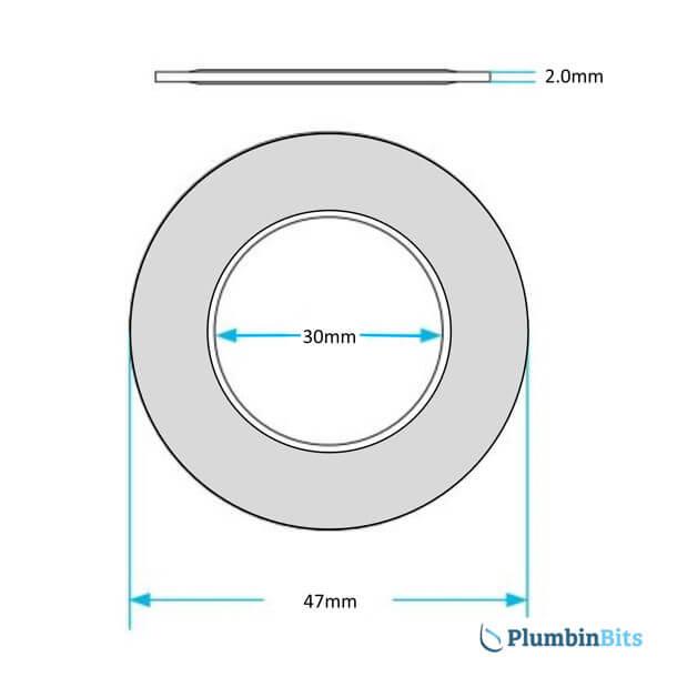 Grohe Adagio 43808 Single Flush Valve Seal Measurement