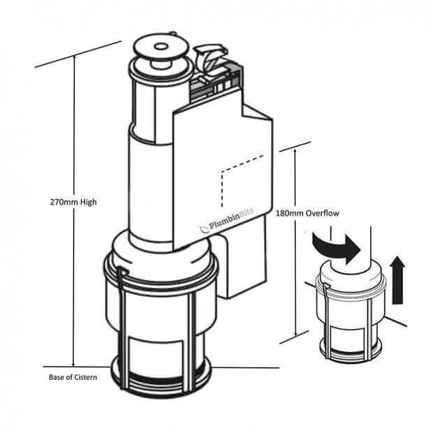 armitage shanks dual flush valve sv89067 measurements