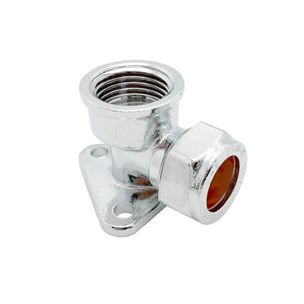 """15mm Compression x 1/2"""" BSP Female Wing Back Elbow Chrome"""