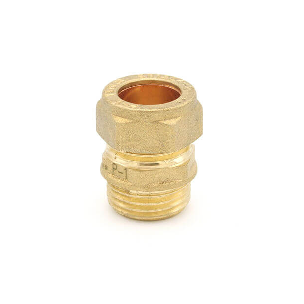 """15mm compression x 1/2"""" male iron adapter"""