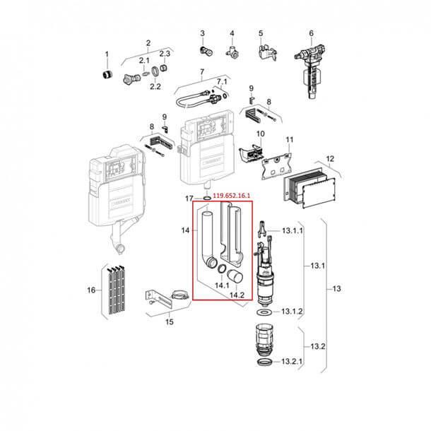 Geberit Sigma Concealed Flush Pipe Diagram 119.652.16.1