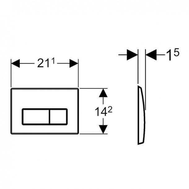 Geberit Kappa50 Flush plate Actuator Gloss Chrome 115.260.21.1 Measurements