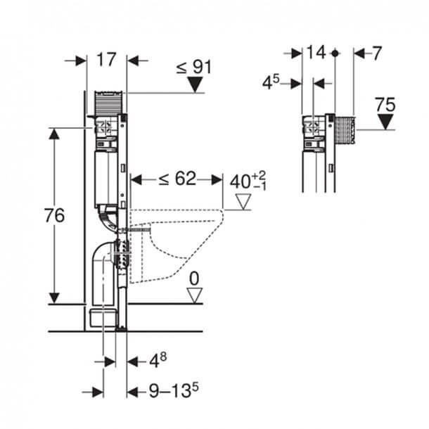 Geberit Frame 111.004.00.1 Measurements