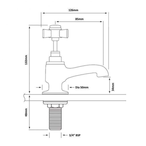 Heritage Dawlish Bath Taps Measurements TDCC01