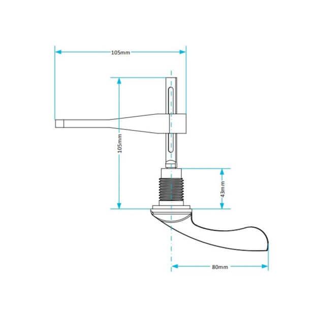 "3/8"" BSP Cistern Lever measurements"