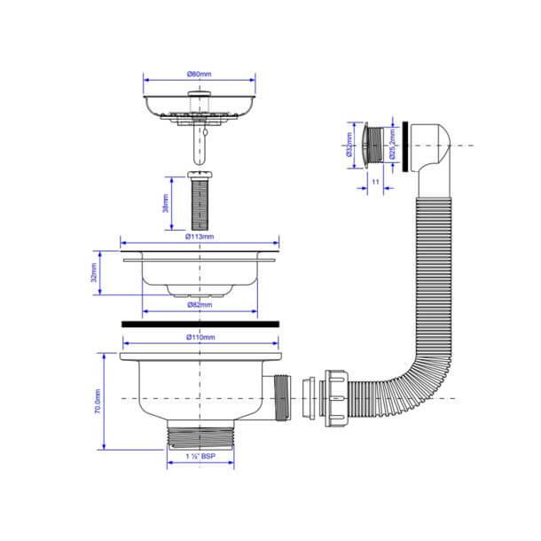 McAlpine Basket Strainer BWSTOFSS measurements