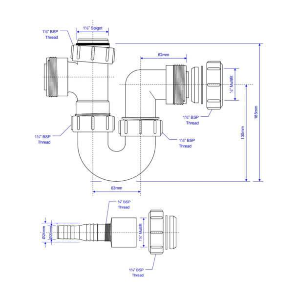 "McAlpine 1-1/2"" Washing Machine P Trap WM2 dimensions"