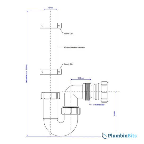 "McAlpine 1-1/2"" Washing Machine WM3 measurements"