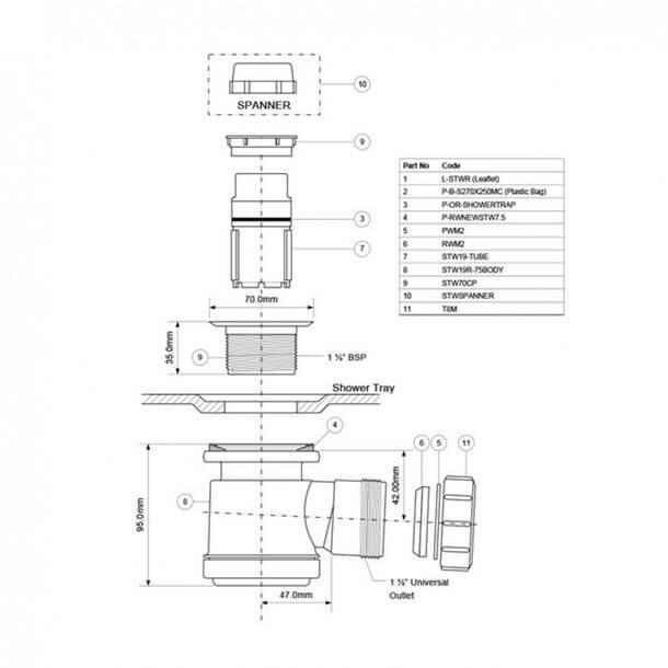 """McAlpine 1-1/2"""" Shallow Seal Shower Waste Trap STW3-R Diagram"""