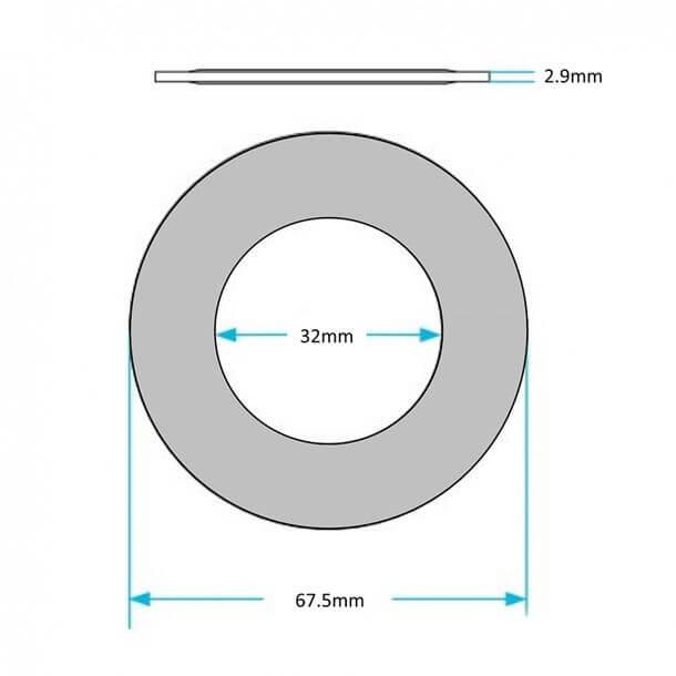 Roca Polo D2P Flush Valve Diaphragm Washer Measurement AH0007000R