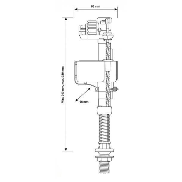 "siamp 3/8"" brass bottom inlet  float valve measurements"