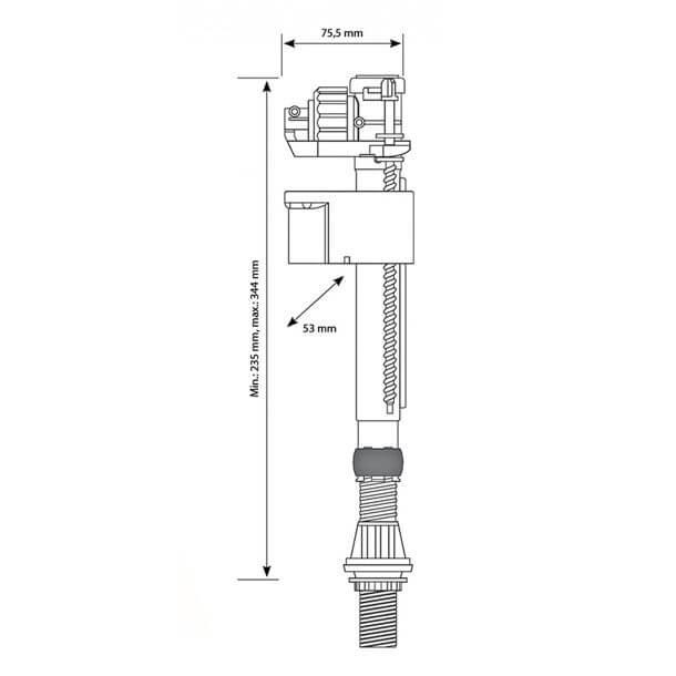 "siamp 1/2"" plastic bottom inlet float valve measurements"