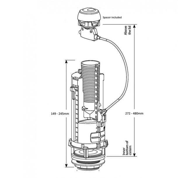 siamp optima 50 dual flush valve measurements