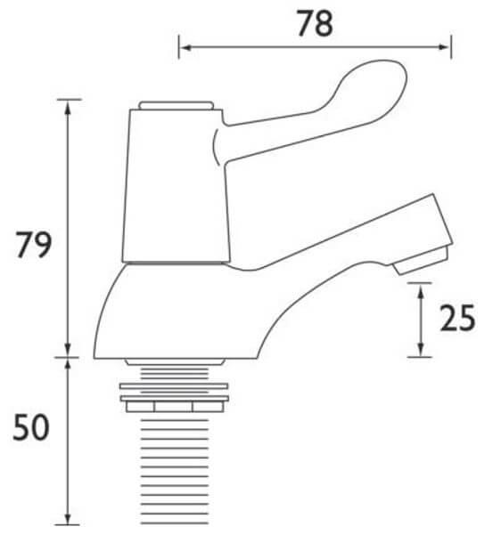 "Bristan 3/4"" Ceramic Disc Lever Bath Taps With 3"" Levers Measurements"