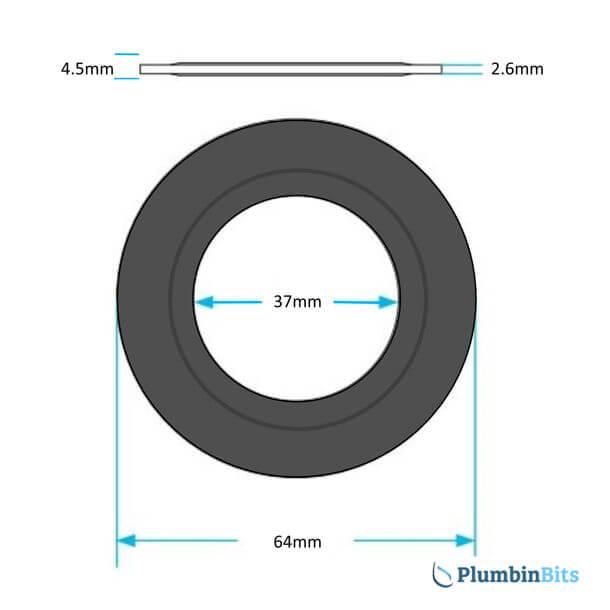 Dudley Vantage Flush Valve Seal 323306 measurements