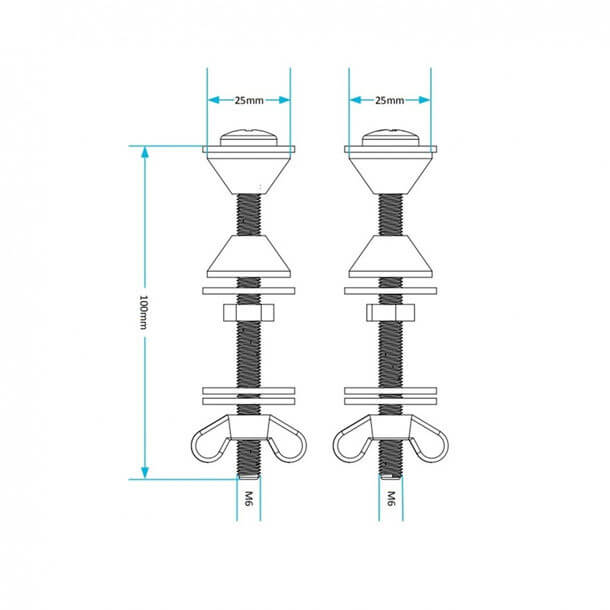 Viva Bolt Through Cistern Bolt Kit PP0021 measurements