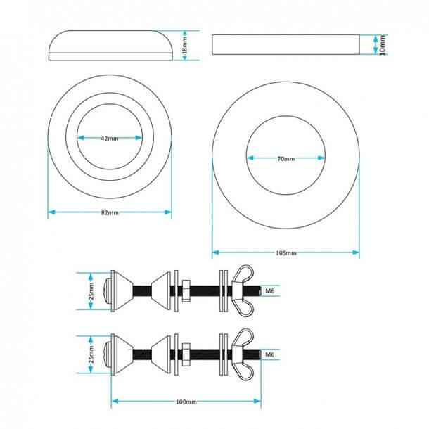 Viva Doughnut Washer Kit Cistern Bolts SKY096 measurements