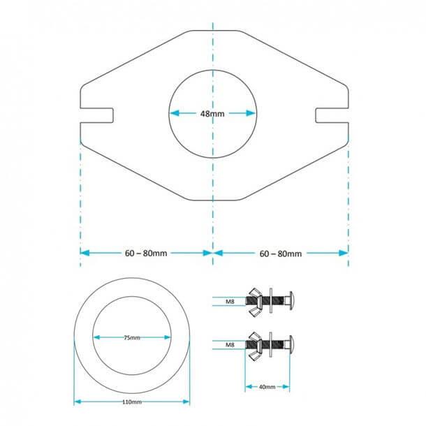 "Viva 1-1/2"" Flate Plate Coupling Kit PP0030/A Measurements"