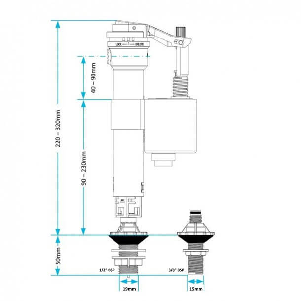 Viva Skylo Unifill 4 in 1 Side & Bottom Inlet Float Valve UNI/B Measurements