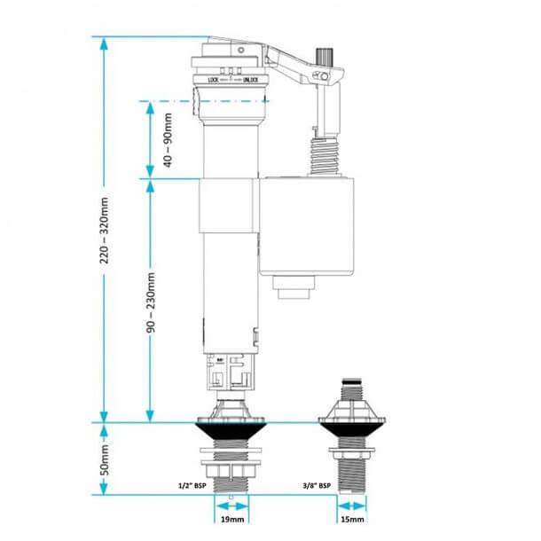 Viva Skylo Unifill 4 in 1 Side & Bottom Inlet Float Valve Plastic Thread UNI/P Measurements