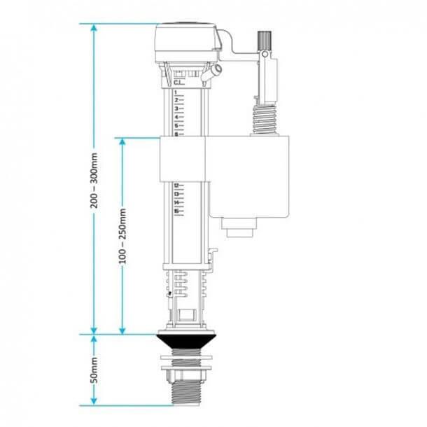 "Viva Skylo 1/2"" Bottom Inlet Float Valve Plastic Thread PP0020 Measurements"