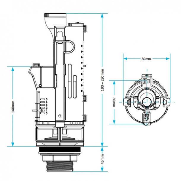 Viva Skylo Dual Flush 570mm Cable Flush Valve SKY015 Measurements
