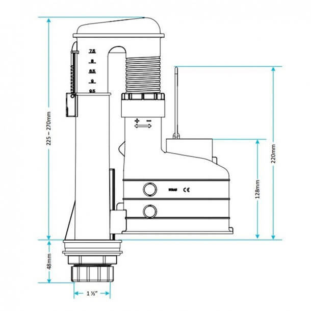 Viva Skylo Dual Flush Height Adjustable 3-Part Syphon AS01/3P Measurements