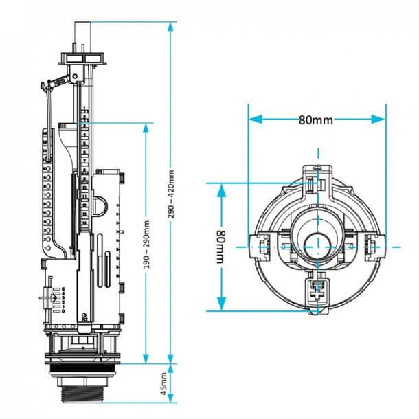 Viva Skylo Dual Flush Valve & Push Button SKY020 Measurements
