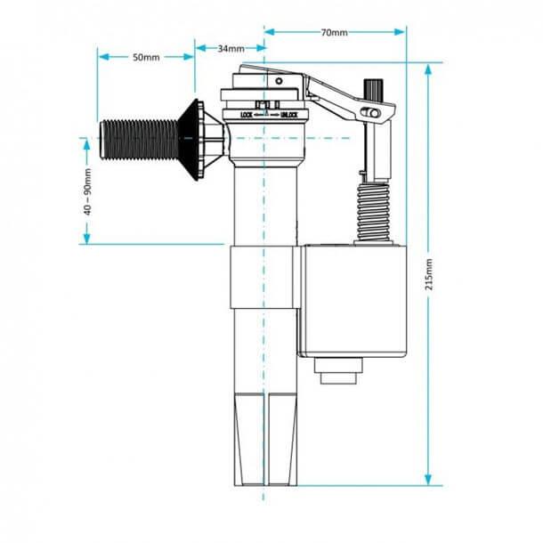 "Viva Skylo 1/2"" Side Inlet Float Valve Brass Thread PP0012/B Measurements"