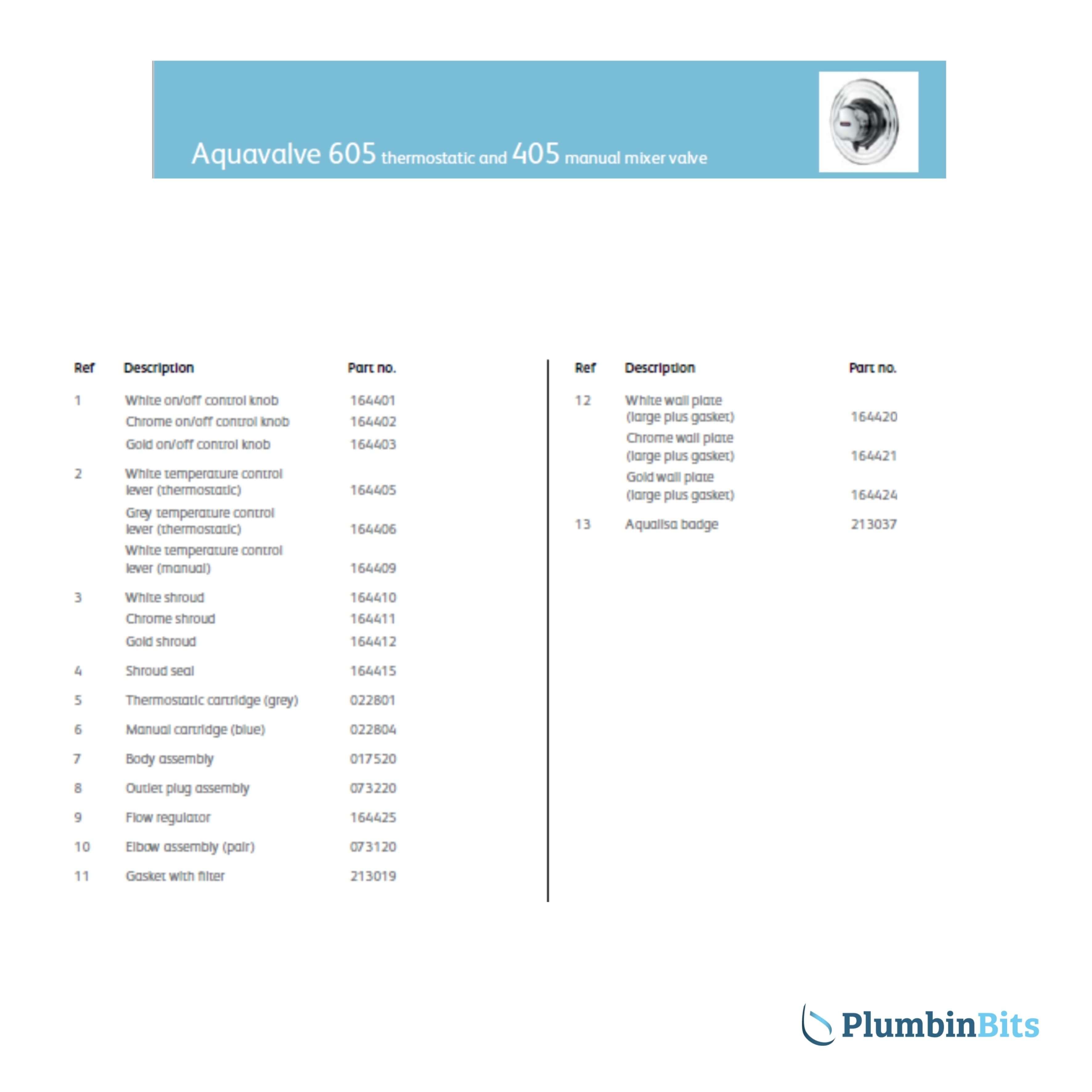 Aqualisa 605 Parts