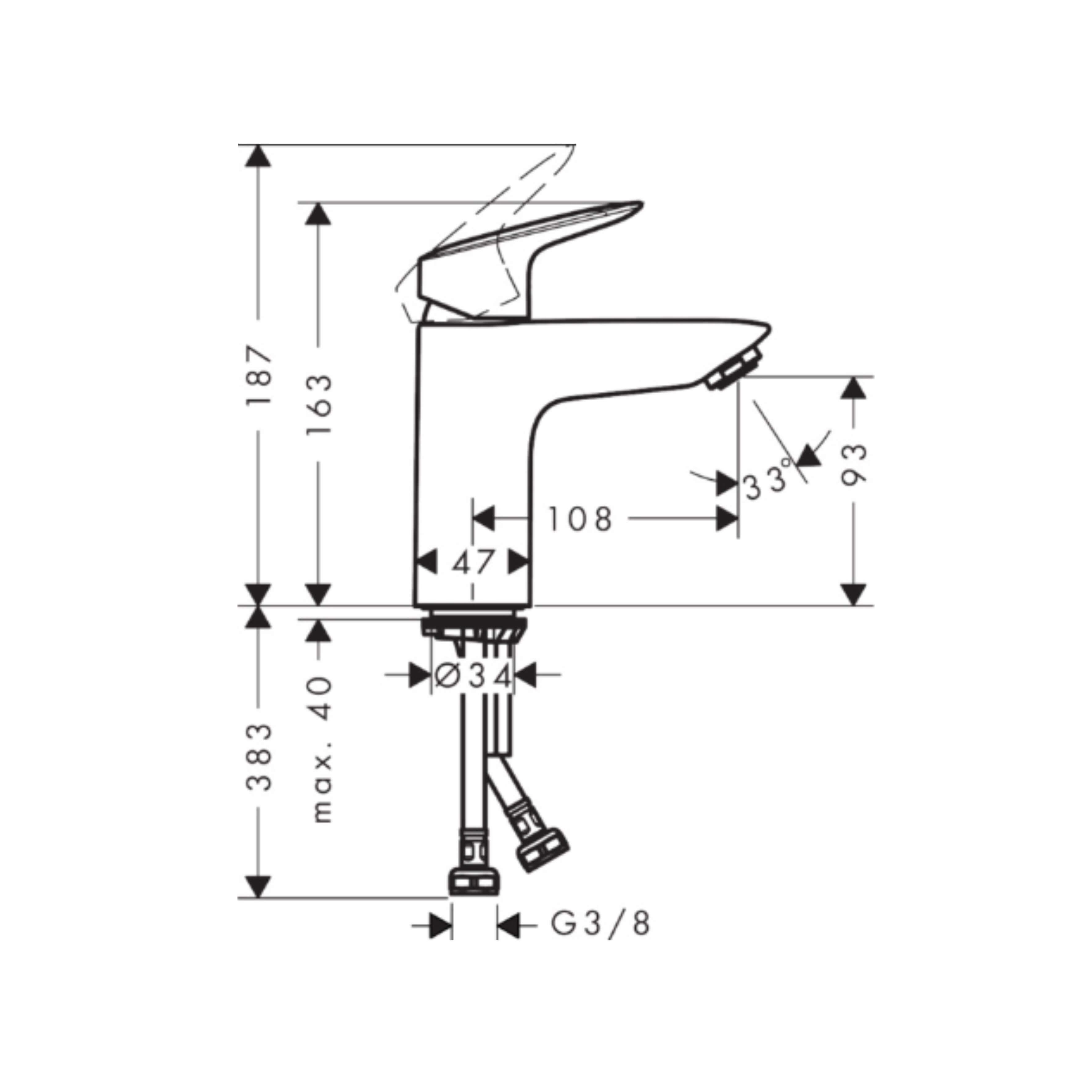 Hansgrohe Logis 71101000 measurements