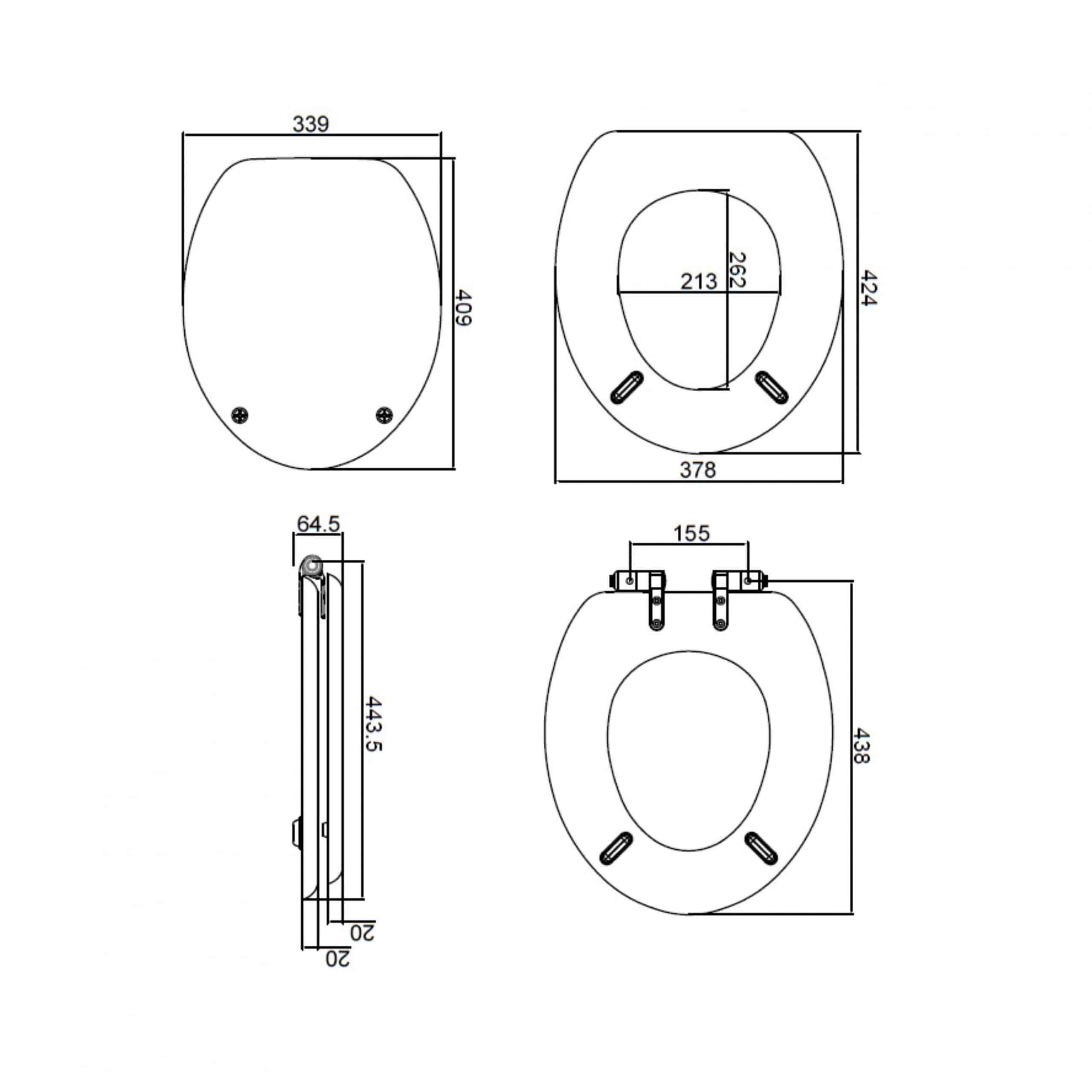 Heritage Wood Seat GW101S Measurements