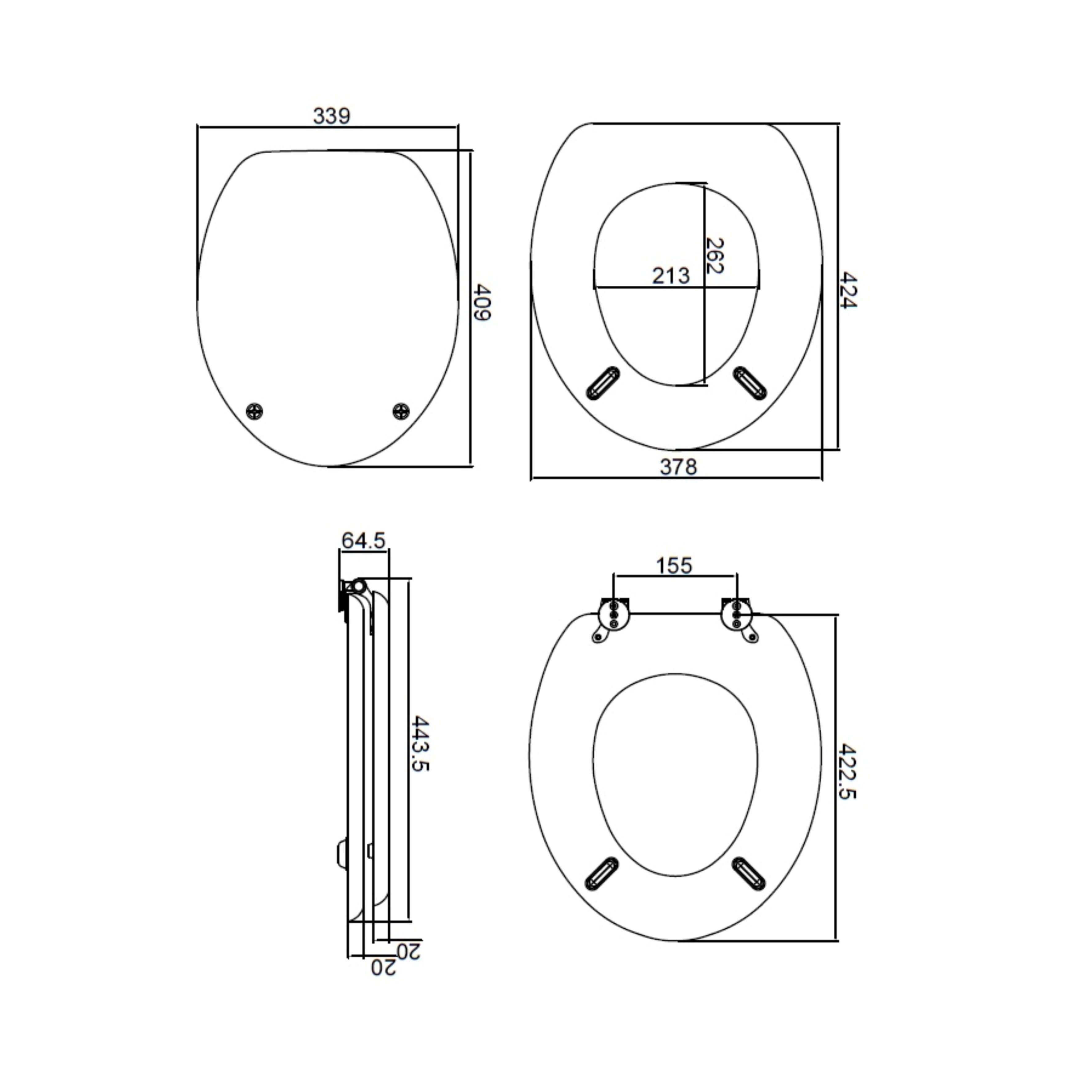 Heritage Walnut Seat TSWAL101 Measurements