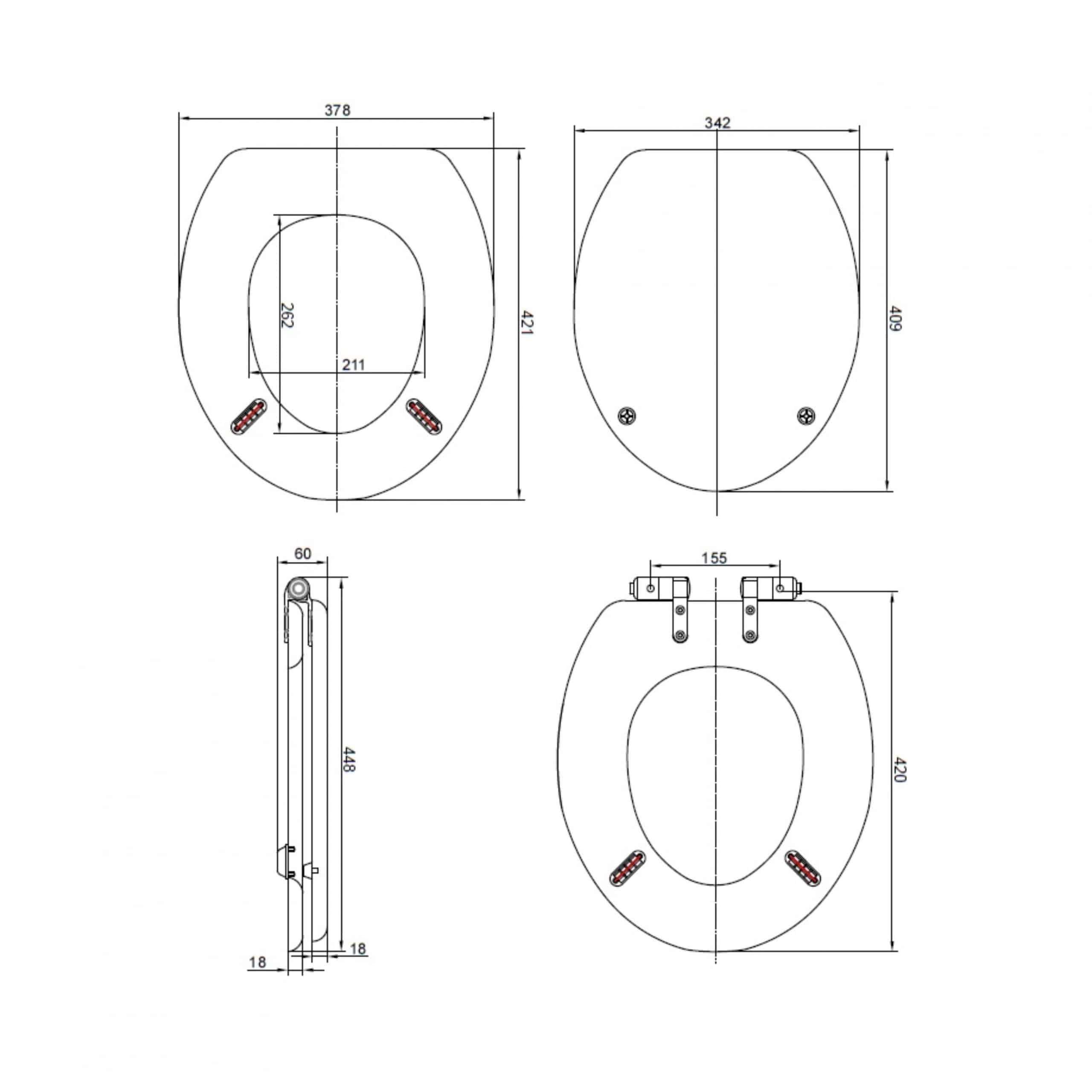 Heritage Wood Seat HWG101S Measurements