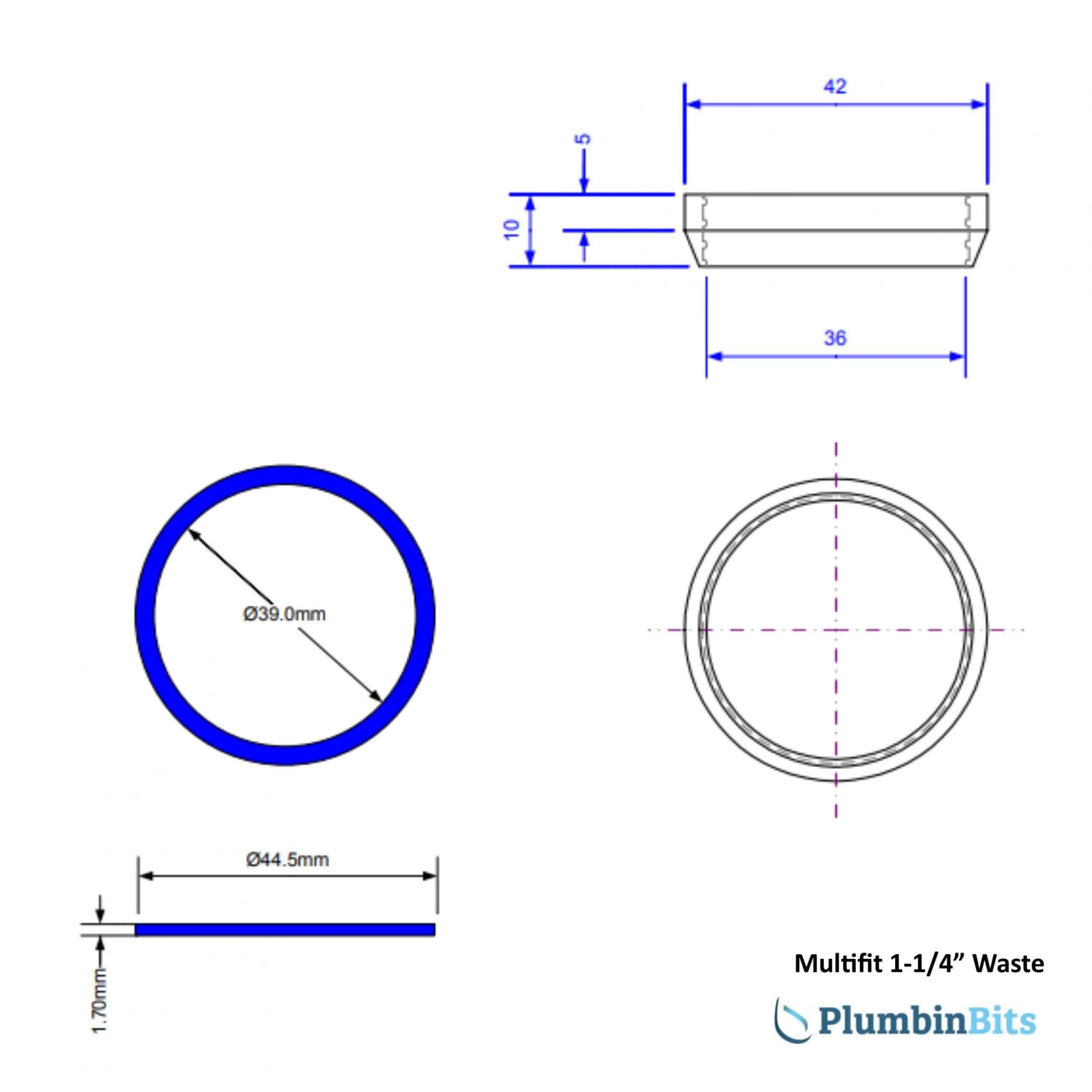 "McAlpine 1-1/4"" Multifit Washer Measurements"