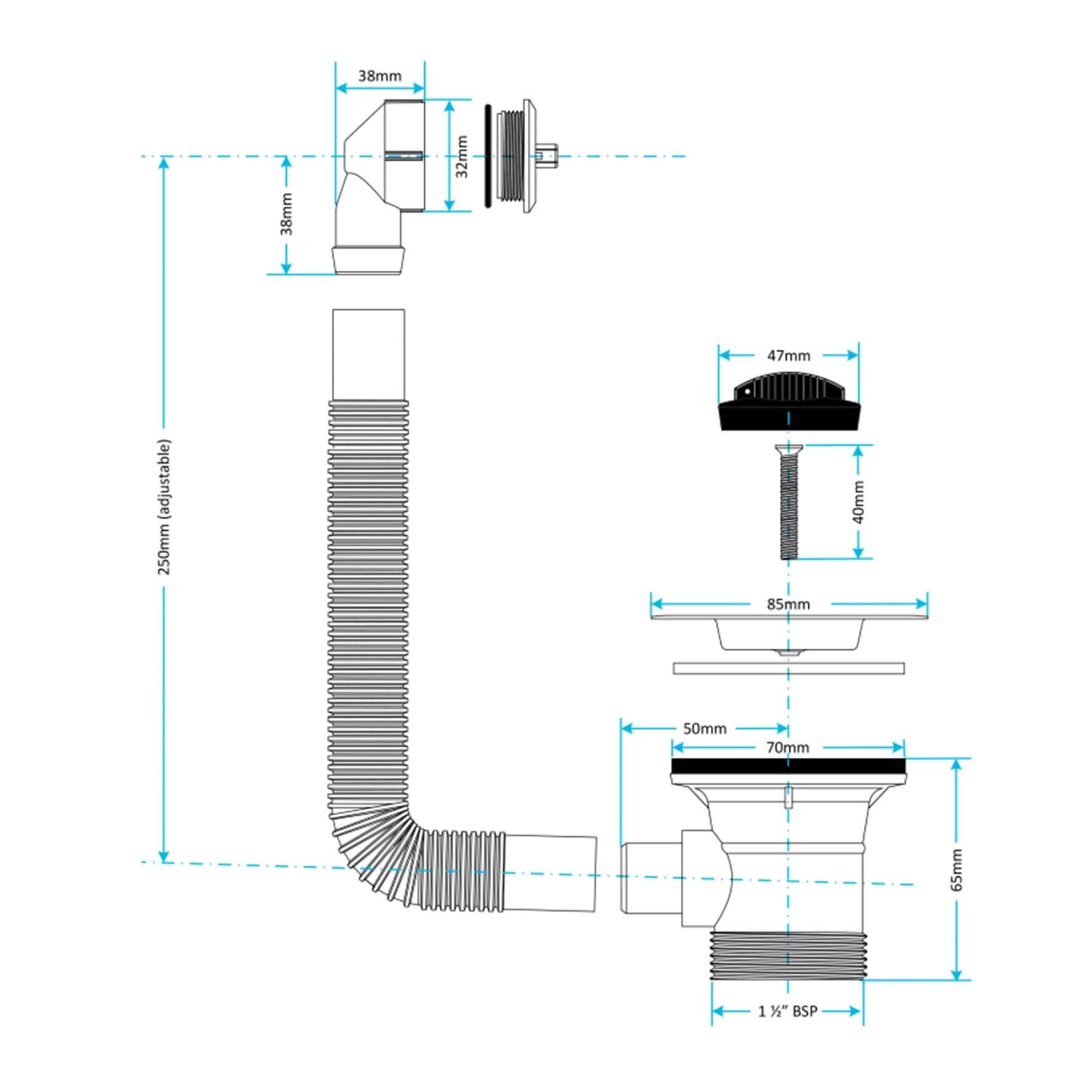 Viva Combi Sink Waste CWS01 measurements