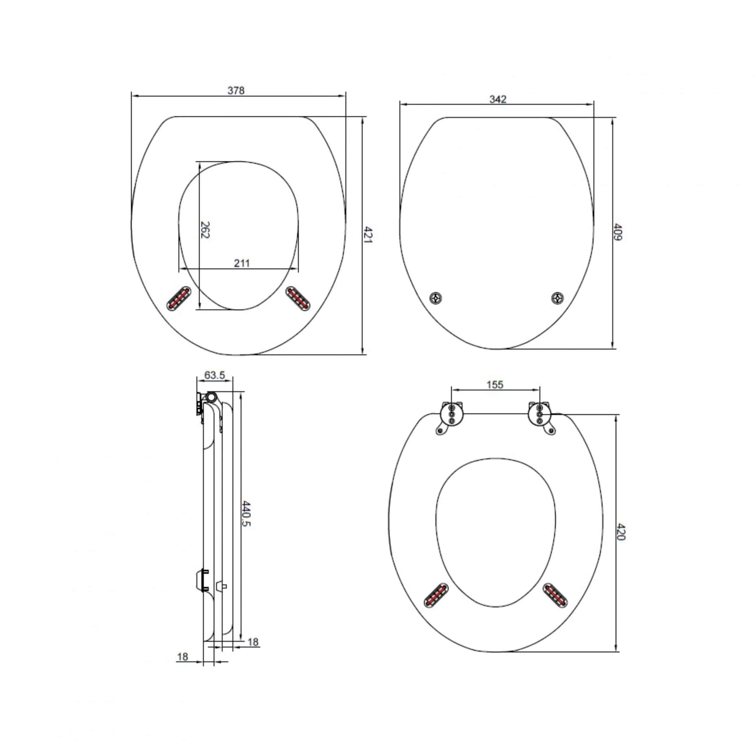 Heritage Wood Seat TSGRA101 Measurements